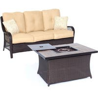 Hanover Outdoor Orleans Two-piece Sahara Sand Woven Fire Pit Set
