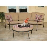 Hanover TRADITIONS2PC-BRY Traditions Tan Aluminum 2-piece Outdoor Patio Set with Reversible Ottoman and Accent Pillows