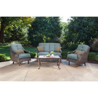 Hanover VENTURA4PC-BLU Ventura Ocean Blue Resin Four-piece Outdoor Patio Set