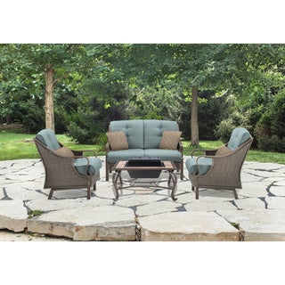 Hanover Ventura Ocean Blue Aluminum and Wicker 4-piece Outdoor Set with Fire Pit