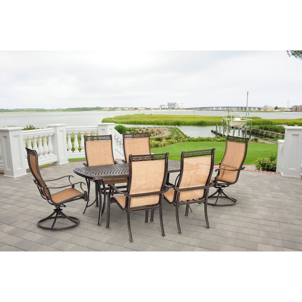 Hanover Manor Tan Aluminum Outdoor 7 Piece Outdoor Dining Set