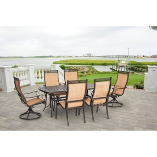 Hanover Manor Tan Aluminum Outdoor 7-piece Outdoor Dining Set