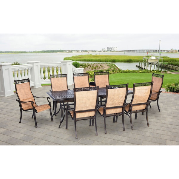 hanover mandn9pc manor tan aluminum 9 piece outdoor dining set free