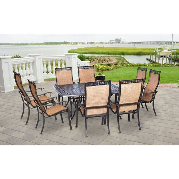 Hanover Outdoor Manor 9 Piece Dining Set With Large Square Table