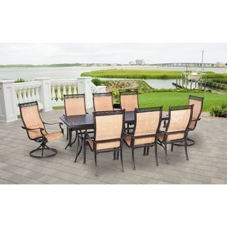 Hanover Outdoor Manor 9-piece Outdoor Dining Set with Two Swivel Rockers