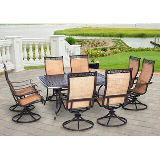 Hanover Manor Tan Aluminum 9-piece Outdoor Dining Set With Large Square Table and 8 Swivel Rockers