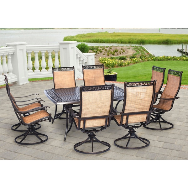 Hanover manor tan aluminum 9 piece outdoor dining set with for Jardin 8 piece dining set