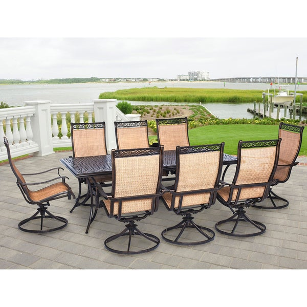 Hanover Outdoor MANDN9PCSW 8 Manor 9 Piece Outdoor Dining Set With Eight  Swivel Rockers