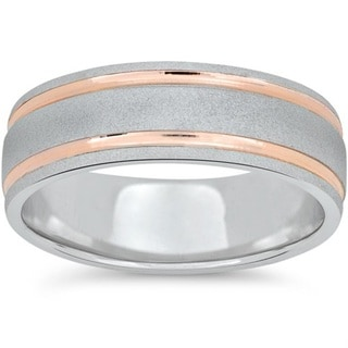 14k Rose & White Gold Two Tone 7MM Brushed Wedding Band. Opens flyout.
