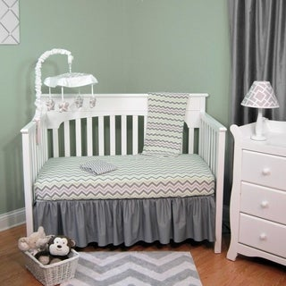 Green/Grey Chevron Four-piece Baby Crib Bedding Set