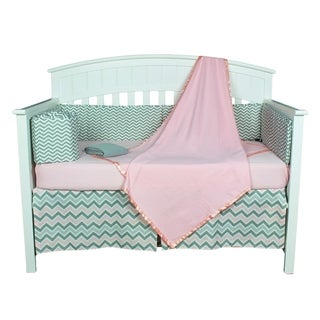 Grey/Pink Chevron 5-piece Baby Girl Crib Bedding Set with Bumper