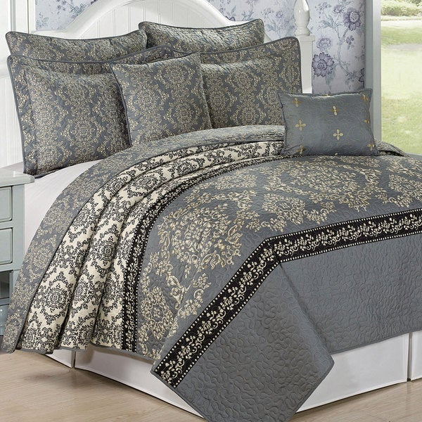 Serenta Mystic Printed Charcoal Grey 7-piece Quilt Set
