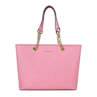 Michael Kors Jet Set Misty Rose Saffiano Pink Leather Top Zip Tote Bag