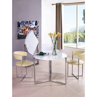 White Finish Chrome and MDF Circular Folding Table