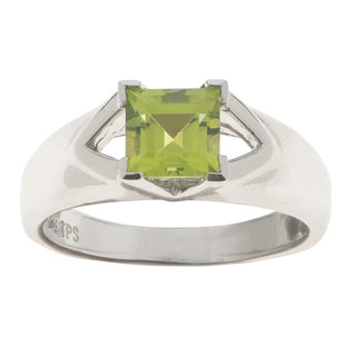 Gems for You White Sterling Silver 1.12k Green Peridot Ring