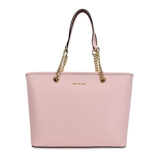 Michael Kors Jet Set Saffiano Blossom Pink Leather Top Zip Tote Bag