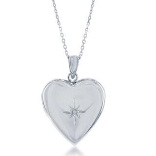 La Preciosa Sterling Silver Diamond Accent Heart Locket