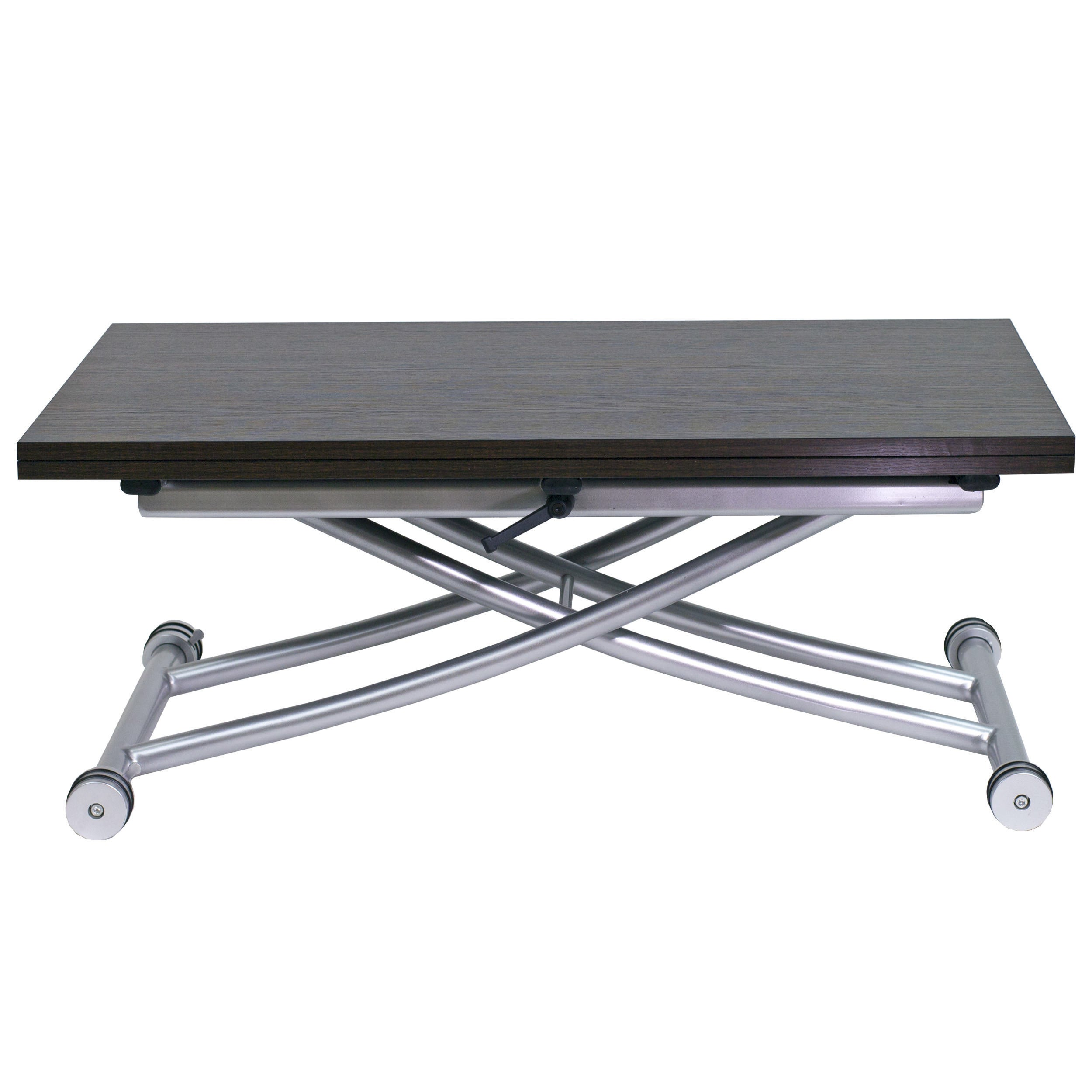 Co 2219 Espresso Finish Stainless Steel And Mdf Transforming X Coffee 4 Seat Dining Table Silver Overstock 12068541
