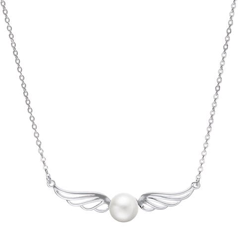 Pearls for You Sterling Silver and Freshwater Pearl 18-inch Wings Necklace