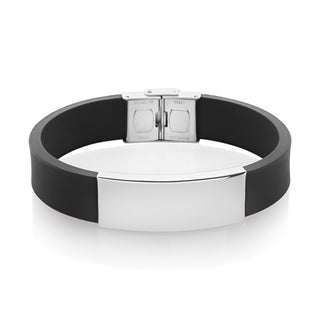 Men's High Polish Stainless Steel ID Rubber Bracelet - 8.25 inches (16mm Wide)