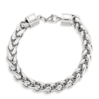 Link to Crucible Men's Stainless Steel Wheat Chain Bracelet - 8.5 inches (10mm Wide) Similar Items in Men's Jewelry