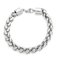 Crucible Men's Stainless Steel Wheat Chain Bracelet - 8.5 inches (10mm Wide)