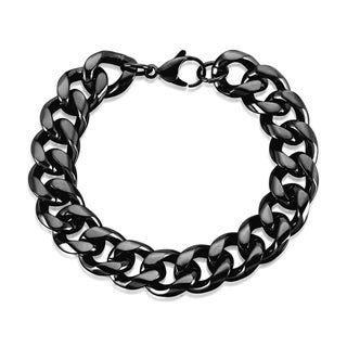 Crucible Men's Stainless Steel Cuban Curb Chain Bracelet - 8.5 inches (15mm Wide)