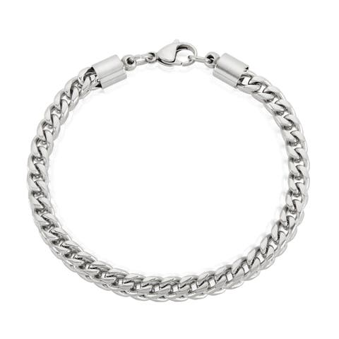 Men's Stainless Steel Franco Chain Bracelet - 8.25 inches (6mm Wide)