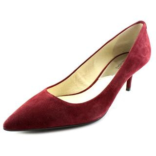 Michael Kors Women's Flex Kitten Pump Red Suede Regular Dress Shoes