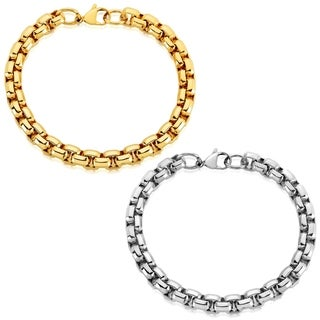 Men's Stainless Steel Beveled Box Chain Bracelet - 8.5 inches (8mm Wide)