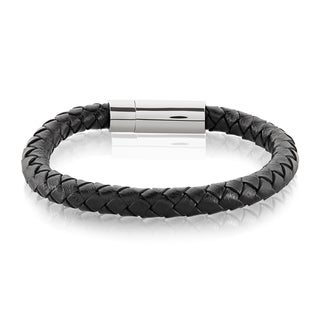 Link to Crucible Stainless Steel Braided Genuine Leather Bracelet - 8.5 inches Similar Items in Men's Jewelry