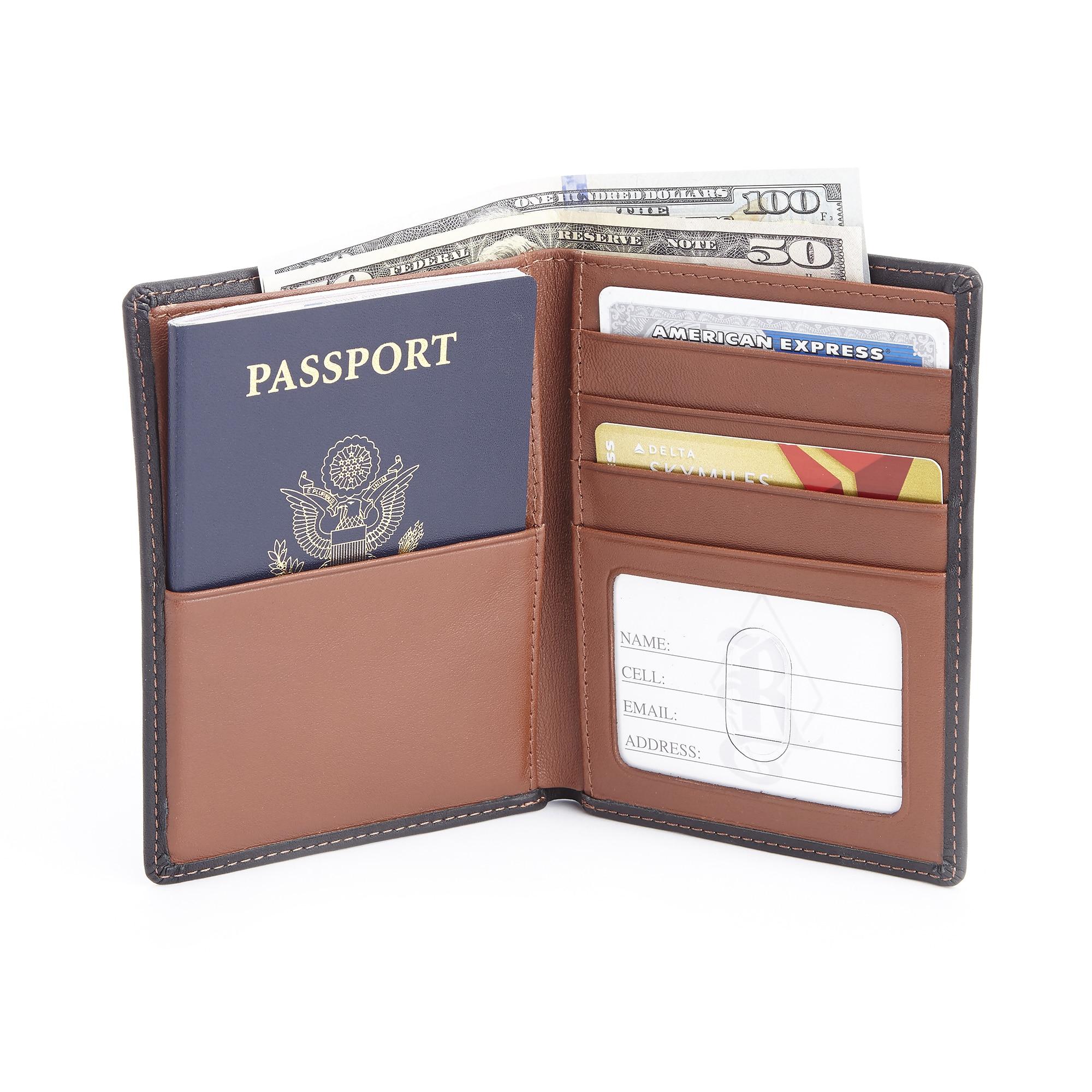 Black 3 Royce Leather RFID Blocking Passport Travel Document Organizer in Leather
