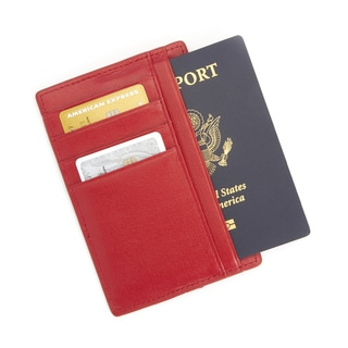 Royce Leather RFID Blocking Slim Red Saffiano Genuine Leather Travel Passport Wallet