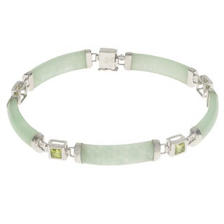 Gems for You White Sterling Silver 1.4-carat Jade Princess Cut Peridot 7.5-inch Bracelet