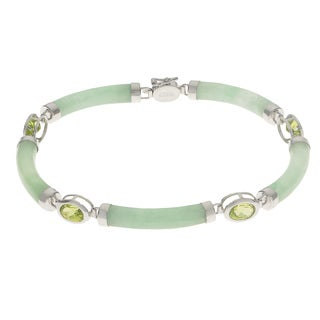 Gems For You 7.5-inch Sterling Silver Jade and Oval Peridot Bracelet