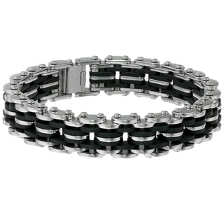 Stainless Steel and Black Rubber Men's Bracelet