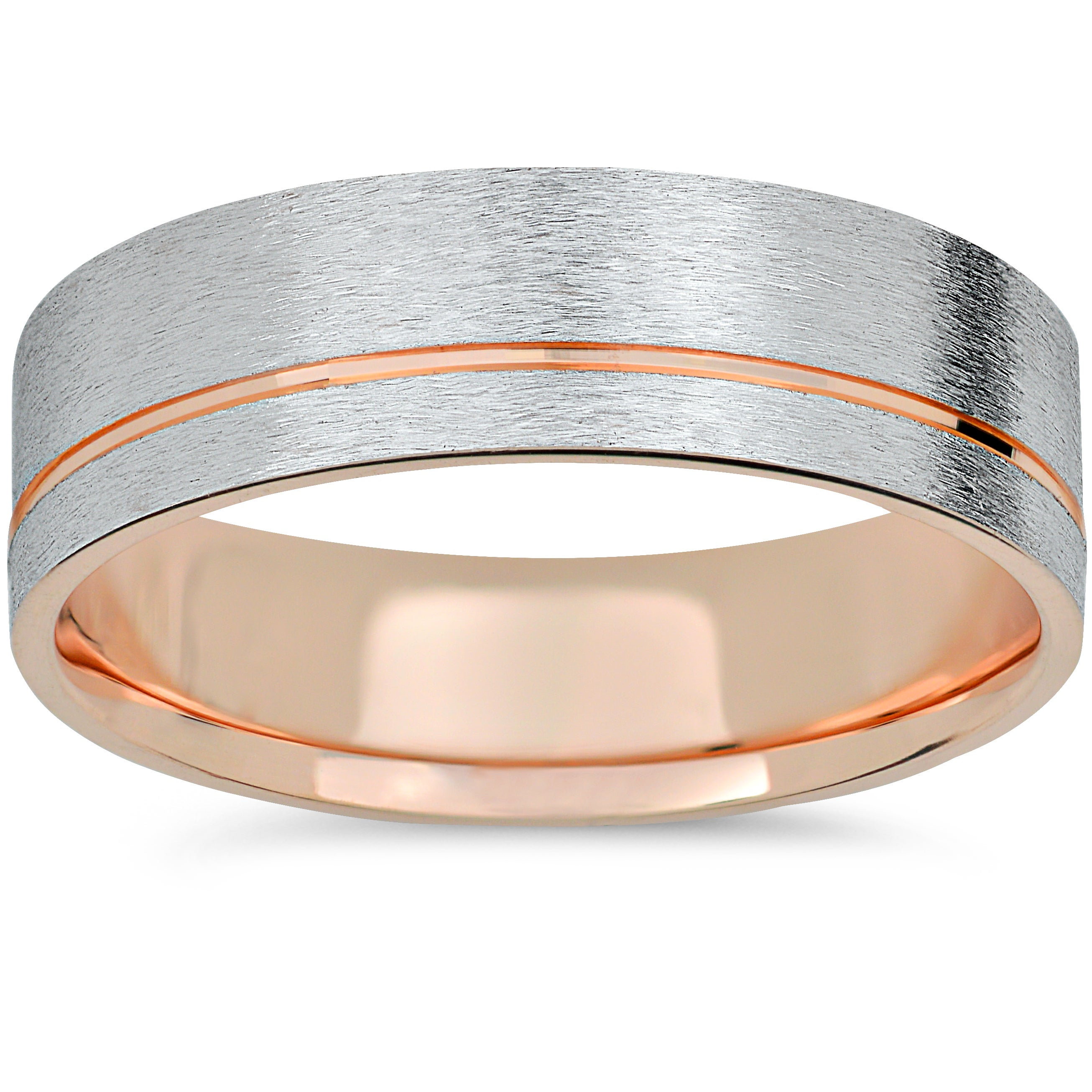 It is a photo of 40k Rose Gold & White Gold Two Tone 40mm Brushed Mens Wedding Band