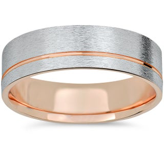 14k Rose Gold & White Gold Two Tone 6mm Brushed Mens Wedding Band (More options available)