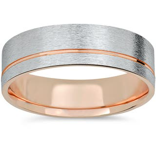 14k Rose Gold & White Gold Two Tone 6mm Brushed Mens Wedding Band|https://ak1.ostkcdn.com/images/products/12068630/P18936762.jpg?impolicy=medium
