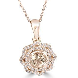 14k Rose Gold 1ct tw Morganite & Diamond Vintage Double Halo Pendant (I-J,I2-I3)