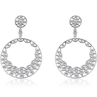 18k White Gold 2 1/2 ct TDW Diamond Circle Dangle Earrings (F-G,VS1-VS2)