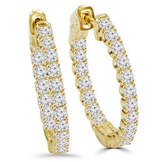 14k Yellow Gold 2 1/10 ct TDW Diamond Hoop Earrings (F-G,SI1-SI2)