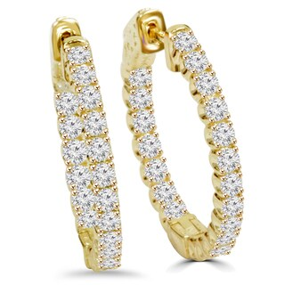 14k Yellow Gold 2 1/10 ct TDW Diamond Hoop Earrings