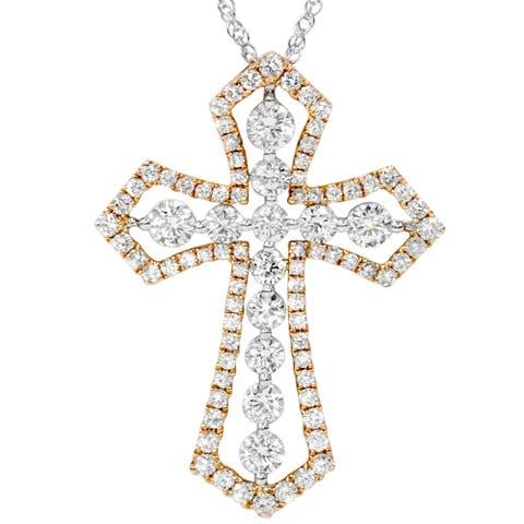 18k Rose & White Gold 1 1/8ct TDW Cross Pendant - Pink