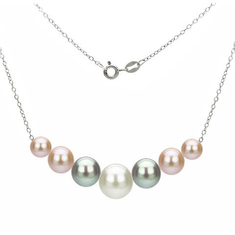 DaVonna Sterling Silver 6-10mm Multi-Color Freshwater Cultured Pearls on Cable Chain Necklace
