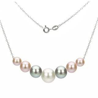 DaVonna Sterling Silver 6 10mm Multi Color Freshwater Cultured Pearls On Cable Chain Necklace