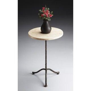 Butler Loreto Beige Metal, Veneer Pedestal Table
