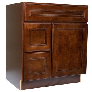 Everyday Cabinets Cherry Mahogany 30-inch Leo Saddle Bathroom Vanity Cabinet