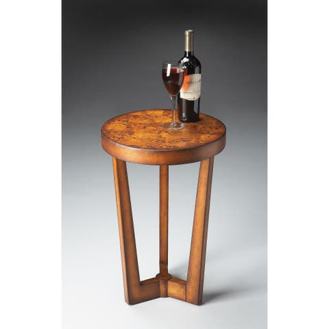 Butler Aphra Solid Wood Olive Ash Burl Accent Table - Medium Brown