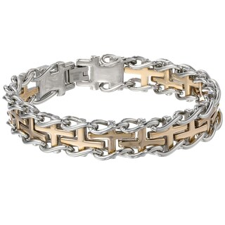 Men's Stainless Steel Railroad Bracelet with Gold Ip